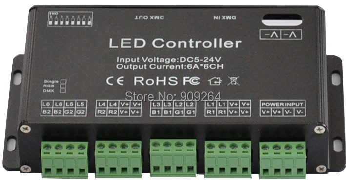 Free shipping 6CH Easy DMX controller, DC12-24V,or DC5V led controller for led strip,led neon,led fixtures,popular at Russia,USA<br><br>Aliexpress