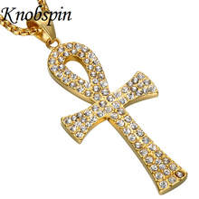 New Design Stainless Steel Cross Pendant Necklace For Hiphop Men Fashion 60cm Gold Color Long Link Chain Men Necklace Jewelry(China)
