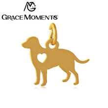 Grace Moments Full polish Love Pet Dog Charm Women DIY Jewelry Steel & Gold & Rose Gold 3 Colors Bracelet Charm Gifts 10pcs/lot(China)