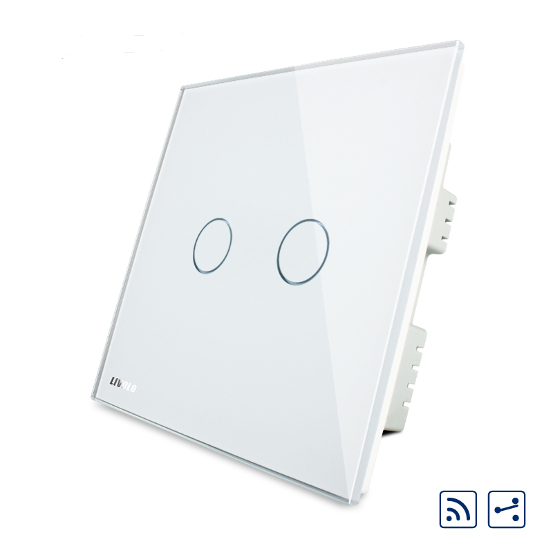 Livolo UK Standard, Touch Remote Switch, White Crystal Glass Panel, 2 Gangs 2 Way, AC 220~250V+LED Indicator Touch Screen Switch<br><br>Aliexpress