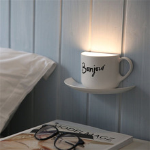 Intelligent Night Light USB Charge Novelty Coffee Cup Shaped With Bonjour Letters Voice Sensor LED Lamp Home Decoration(China)