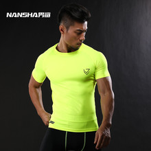 2017 NANSHA Brand Compression Shirt Short Sleeves T-shirt Gyms Fitness Clothing Solid Color Quick Dry Crossfit Lycra Tops(China)