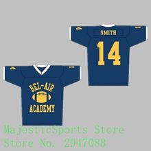 2017 American Football Jersey Will Smith #14 Bel-Air Academy Embroidery Stitched Blue Jersey BA002(China)