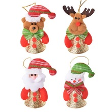 2PCs Christmas Ornaments For Home Santa Claus Doll W/Jingle Bell Xmas Decor New Year Christmas Decorations Hanging Drop Pendant