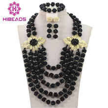 Black Jewelry Sets Crystal Necklace Romantic Nigerian Wedding African Beads Jewelry Set Bridal Jewelry Sets Free Shipping ABH237