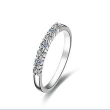 Genuine White Gold Seven Stones Band Wonderful Synthetic Diamonds Anniversary Ring For Women Lovely Design Engagement Band Ring