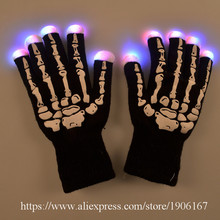 5 Pairs Led luminous Skeleton Gloves Rave Light Up Flashing Finger Halloween Christmas Gift Lighting Magic Party Glow Gloves(China)