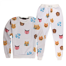 Harajuku New 3D tracksuits print cartoon emoji suits sweat shirts + pants 2 piece set for men/women sportwear