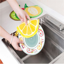 Funny Fruit Print Hanging Kitchen Round Hand Towel Microfiber Towels Quick-Dry Cleaning Rag Dish Cloth Wiping Napkin Toallas