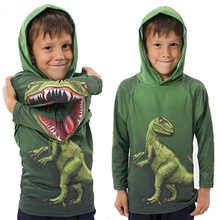 Funny 3D Dinosaur Raptor Printed Boy T-shirts Children Long Sleeve Tees With Hood Novelty Boys Spring Autumn Kids Green Tops