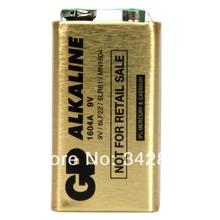 Wholesale 5pcs GP 1604A PP3 6LF22 6LR61 1604G 6F22 9V Alkaline Battery Gold Freeshipping(China)