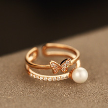 AGOOD toe ring butterfly pearl gold rings for women midi rings bague femme engagement wedding band anello anillo hombre anelli