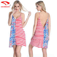 2017 One Shoulder Flower And Stripe Sexy Deep V Loose Halter Beach Summer Sundress Seaside Vacation Beach skirt(China)