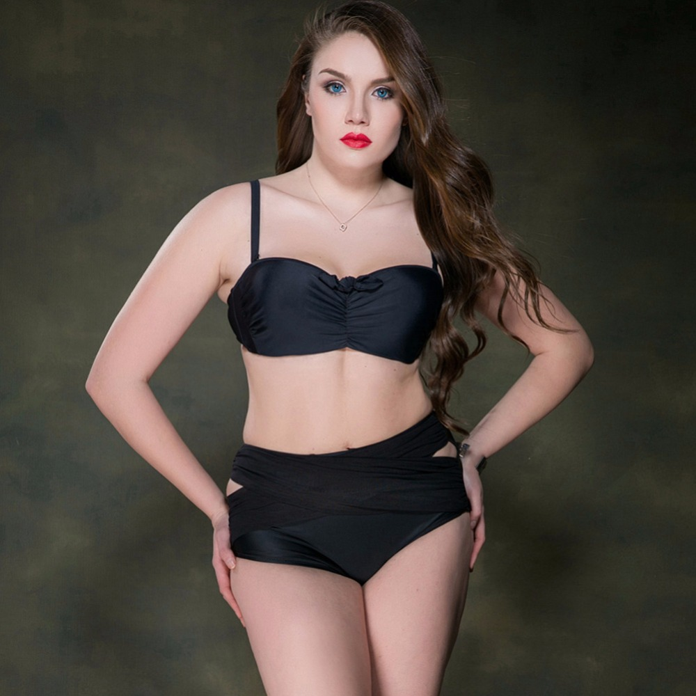 Bikini 2017 plus size Bathing Suit women push up high wasit Bikini Women Swimwear Sexy plus size Swimsuit brazilian bikini set<br>