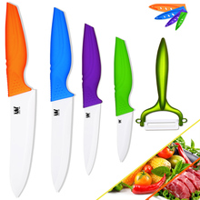 Ceramic knives 100% brand new four knives with one fruit peeler kitchen knives sharp cooking knives ceramic kitchen accessories