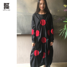 Only One Piece! Outline Women Oversized Robe Black Red Dots Pullover Long Sleeves Dress Loose Autumn O-Neck Plus Vestidos LY008