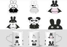 Cartoon Pirate Hero Rabbit Minimalist Picasso mugs heat changing color heat reveal  magic tea coffee mugen ceramic  gifts