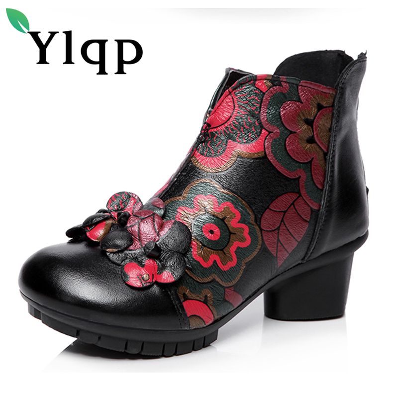 Ylqp 2018 Newest Vintage Genuine Leather Women Shoes Retro Ethnic Style Ankle Short Boots for Women Warm Shoes Zapatos Mujer<br>