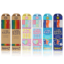 12 pcs/ box Japanese Towbow IPPO HB/2B Pencils Pure Wood and Hexagon-shaped Cute Pencils for Kids Office Work Drawing Art Pencil(China)