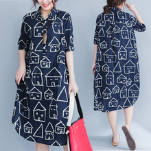Plus Size 5XL 2017 Summer Women Fashion Lapel House Face Print Short Sleeve Tops Ladies Female Large Long Cotton Blouse Dresses