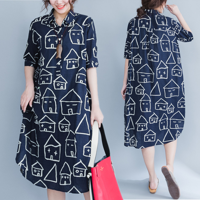 Plus Size 5XL 2017 Summer Women Fashion Lapel House Face Print Short Sleeve Tops Ladies Female Large Long Cotton Blouse Dresses(China (Mainland))