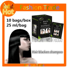 10 bags Permanent Black hair dye color hair Blackening Shampoo for men and women Herbal natural faster black hair Restore cream