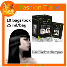 10 bags Permanent Black hair dye color hair Blackening Shampoo for men and women Herbal natural faster black hair Restore cream(China)