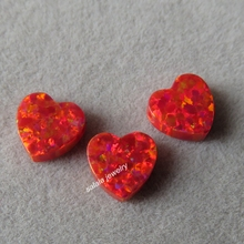 20pcs/lot 8mm Double Flat Heart Opal OP45 Flame Red Heart Opal Drilled Synthetic Cabochon Heart Opal for Opal Necklace & Pendant