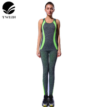 Sportswear Gym women sport sets fitness clothing yoga set running Dry Quick suit 2pcs/set Compression Jogging Breathable vest(China)