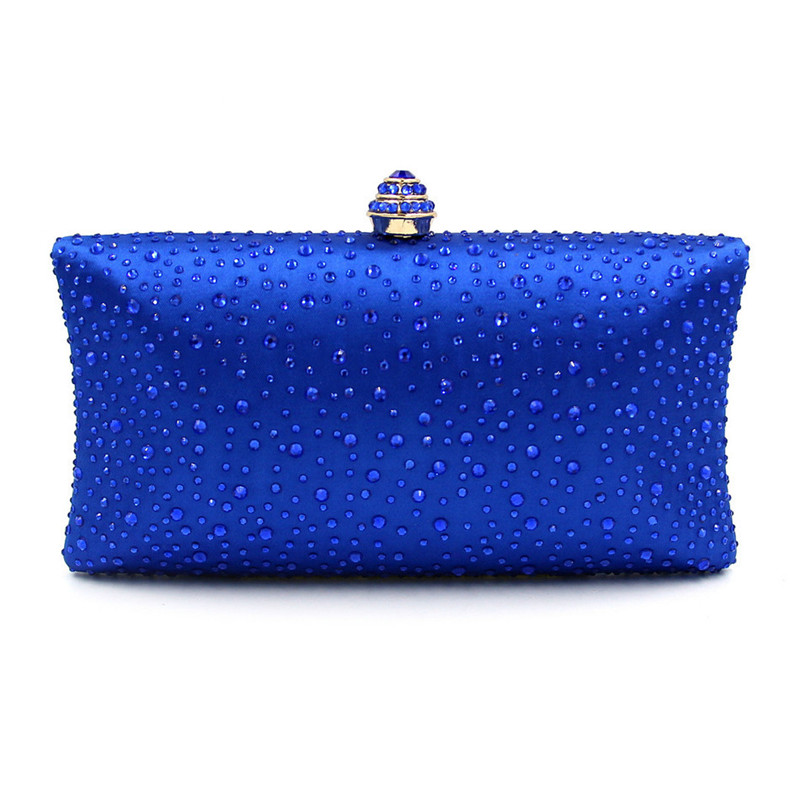 Rhinestones Women Crystal Clutch Evening Box Bags Wedding Party Bridal Chains Shoulder Bag Metal Clutches Handbags<br>