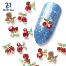 Nail Art Rhinestone For Nails Blueness 10 Pcs Cherry 3D Art Tools Stones Crystal Alloy Decorations Nail Art Glitters DIY TN061