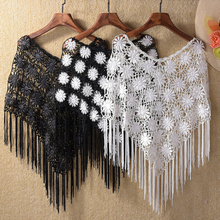 2017 Lace Hook Flower Hollow Shawl Capelet Crochet Tassel Short Poncho Sun Protection Pashmina Cover-ups 12Color