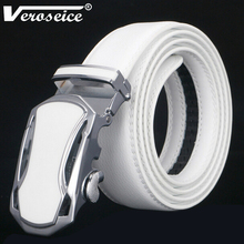 [Veroseice] Sales Mixed Models Genuine Leather White strap Automatic Buckle Men's Belt Cowskin Belts for Men Waistband Ceinture(China)