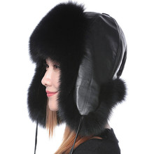 Valpeak Women Winter Fur Bomber Hat Female Real Natural Fox Fur Hat Russian Genuine Leather Hat Fox Fur Hat with Ear flaps(China)