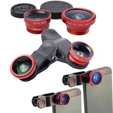 Fisheye Lens 3 in 1 Mobile Phone Clip Lenses Fish Eye Wide Angle Macro Camera Lens for iPhone 7 6 6s Plus for Samsung LG Huawei