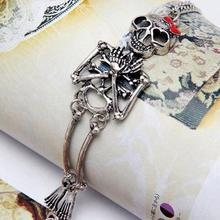 Charming Jewelry Vintage Hot Rock Gothic Style Double Skeleton Skull Bangle Bracelet Gold Silver color