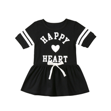 Fashion Kids Baby Girls Clothes Summer Short Sleeve Tunic Party Dress Sundress Black Letter Heart Print Cute Comfort Dress(China)