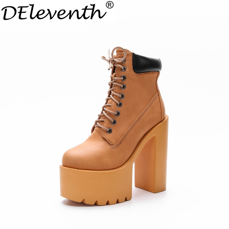 2017 High Platform Mature Brand Shoes Women Round Toe High Heels PU Fashion Boots Cross Strap Mixed Colours Brown Black<br><br>Aliexpress