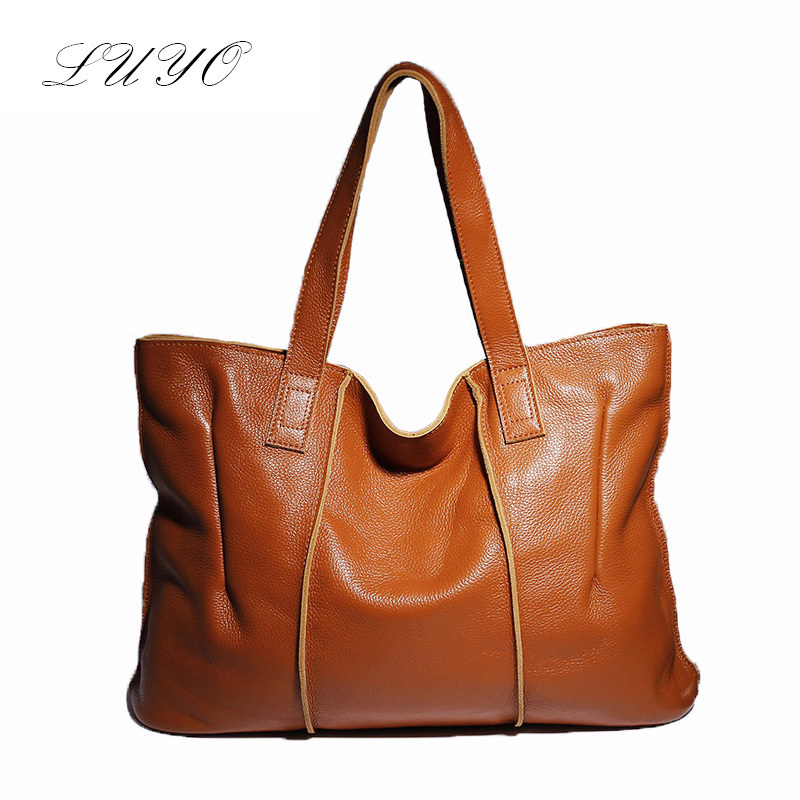 Luyo Brand New Retro High Quality Genuine Cow Leather Large Women Casual Tote Bag Ladies Handbag Luxury Shoulder Bags Female <br><br>Aliexpress