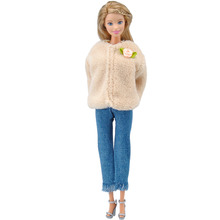 E-TING Handmade Doll Clothes Fashion Party Dress Winter Clothing Beautiful Coat Jacket Tassel Jeans Doll For Barbie  (Beige)