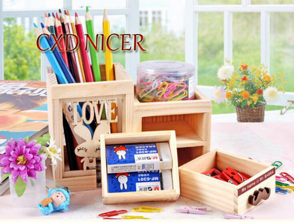 Fashion Tower Beard Desktop Hollow Wooden Pen Holder Office Stationary Supplies Accessories Double Drawer Pencil Holder Dd252 2