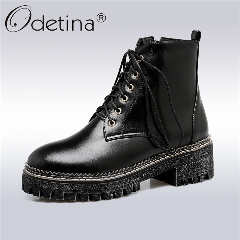 Odetina 2018 New Fashion Woman Platform Ankle Boots Round Toe Side Zipper Lace Up Shoes For Lady Chunky Heel Booties Big Size 43<br>