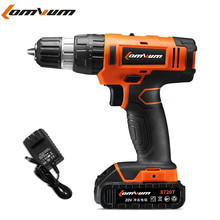 20V Two speed Lithium Battery Impact Drill Cordless Hammer Drill wall Electric Drill Concrete electric screwdriver power tools