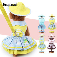 Gomaomi Set 4 pcs Pet Dog Puppy Dress + Harness Leash Collar + Hat Headwear + Physiological Sanitary Panty(China)