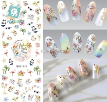 RU2PCS DS221 DIY Nail Design Water Transfer Nails Art Sticker paradise Vacation Nail Wraps Sticker Watermark Fingernails Decal(China)