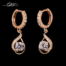Double Fair Brand Elegant Cubic Zirconia Drop/Dangle Earrings Rose Gold Color Crystal Fashion Retro Jewelry For Women DFE685