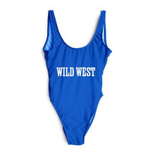 WILD WEST Funny One Piece Swimsuit 2017 Sexy Swimwear Women Bathing Suit Swim Summer Beach Wear Print Bandage Monokini Swimsuit