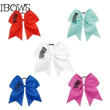 "7 Inch Boutique Glitter ""icheer"" Bow Printed Custom Solid Big Ribbon Cheer Bows For Cheer Team Gifts"
