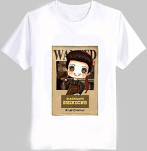Fashion summer kpop super junior member cartoon image wanted t shirt o neck short sleeve white t-shirt  S-2XL top tees
