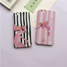 Couple cartoon for iphone 7 7plus case striped pink leopard protective cover 5se feel hard shell for 6 6s plus cases